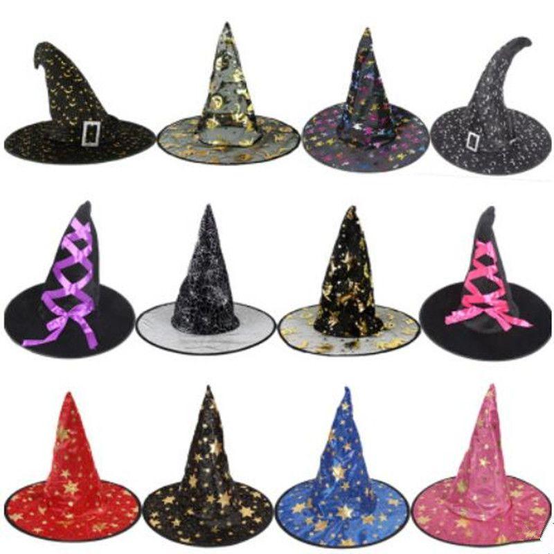 Compre Sombrero De Bruja Para La Decoración De Halloween De Punta Estrecha  Sombreros De Bruja Sombrero De Mago De La Cinta De Franela De La Mascarada  ... 0e90e2905b9