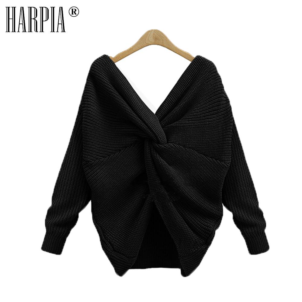 2a6e78cfd8e90 2019 HARPIA Spring And Autumn Wool Women S Sweater V Neck Sexy Open Back  Women S Long Sleeved Pullover Cross Knot Casual Knit Sweater From Beasy112