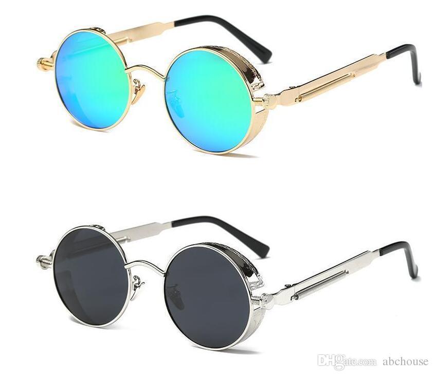 Compre UV400 Gótico Steampunk Mens Óculos De Sol De Revestimento Espelhado  Óculos De Sol Redondo Círculo Óculos De Sol Retro Vintage Gafas Masculino  Sol 10 ... df81a0799c