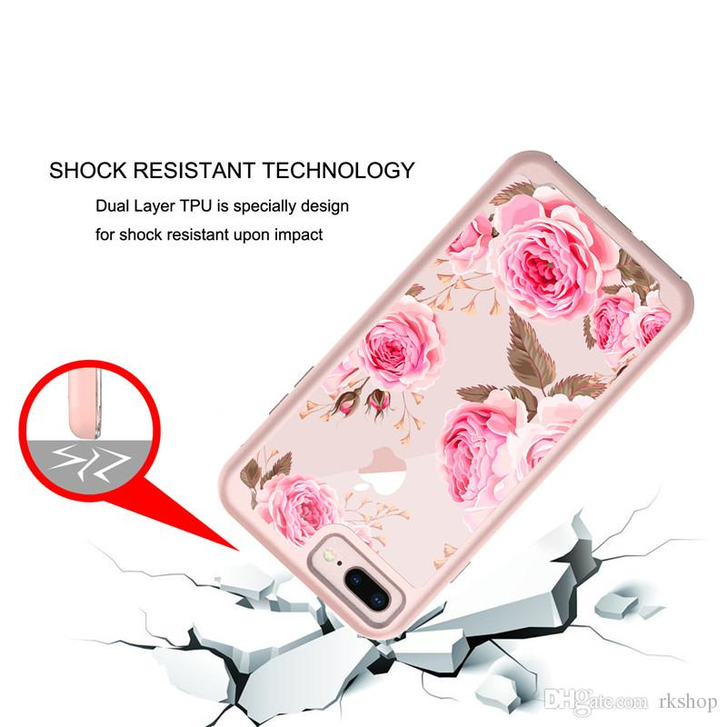 Luxury blossom flower clear case for iphone 8 plus case 2in1 armor shockproof rose gold cover for iphone 6 6s 7 Plus coque