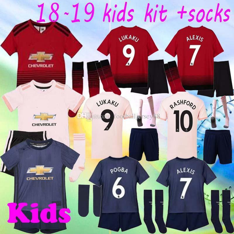 cc288594d1f 2018 2019 manchester united kids jerseys soccer kit away pink ALEXIS LUKAKU  THIRD home POGBA 10 RASHFORD boy child utd football shirts