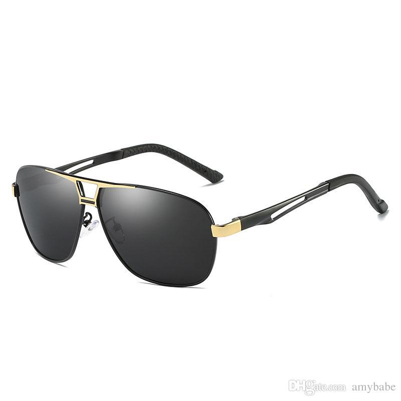 Nueva protección polarizada del marco de metal de las gafas de sol cuadradas del aviador retro UV400 VDrYc