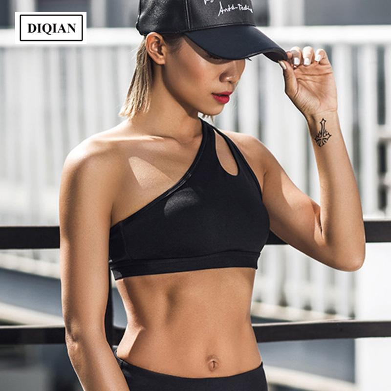 9ec81c7b39232 2019 DIQIAN Bodybuilding One Shoulder Sport Bras Women Solid Color 3 4 Cap  Femme Running Bras Gym Fitness Hollow Out Yoga XL From Yiquanwater