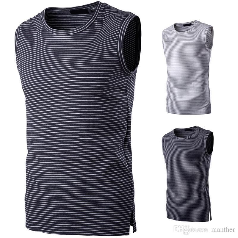 f6889befed242 Wholesale- Pure Cotton T Shirts for Men Striped Casual Tank Tops ...