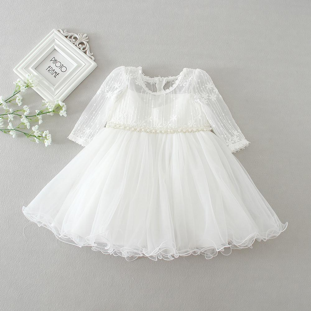 23f84be5b 2019 Baby Girl Dress White Lace Flower 1 Year Birthday Dress Pearl Belt  Long Sleeve Ball Gown Infant Clothes For 3 24 Month From Cover3129, $34.47  | DHgate.