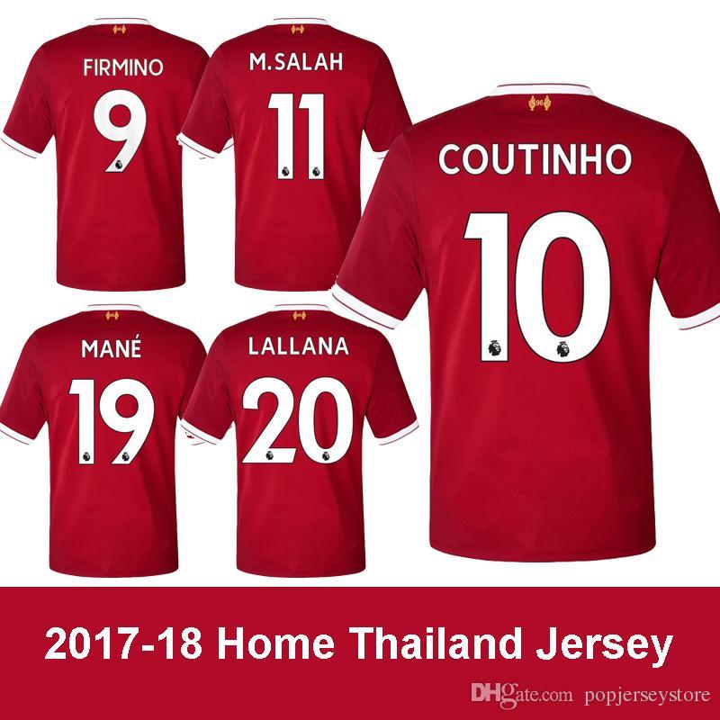 91915f01ac Compre 2017 18 Liverpool Local Soccer Jersey Thailnad Casa Red Coutinho  Camisa De Futebol Lallana Firmino Maillot De Pé Mane Sturridge Camisa De  Futebol Dos ...