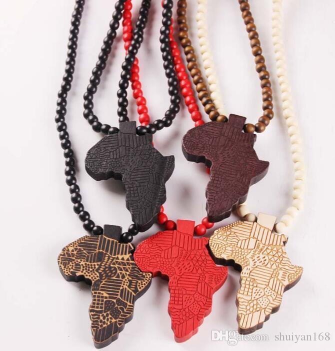 Holz Afrika Karte Anhänger Halskette Hip Hop Mode Perlen Lange Kette Männer Holz Anhänger Halsketten Schmuck Geschenk
