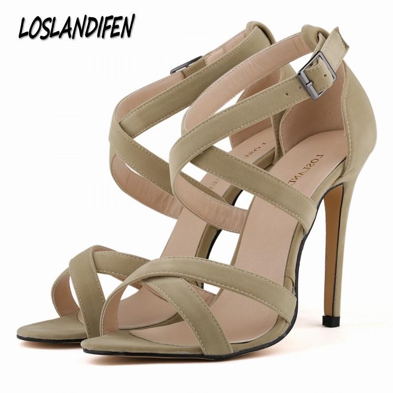 878c85087f66 Loslandifen New Summer Women High Heels Sandals Shoes Woman Fashion Sexy  Cross Tied Peep Toe Party Wedding Stiletto Buckle Shoes Platform Shoes Prom  Shoes ...