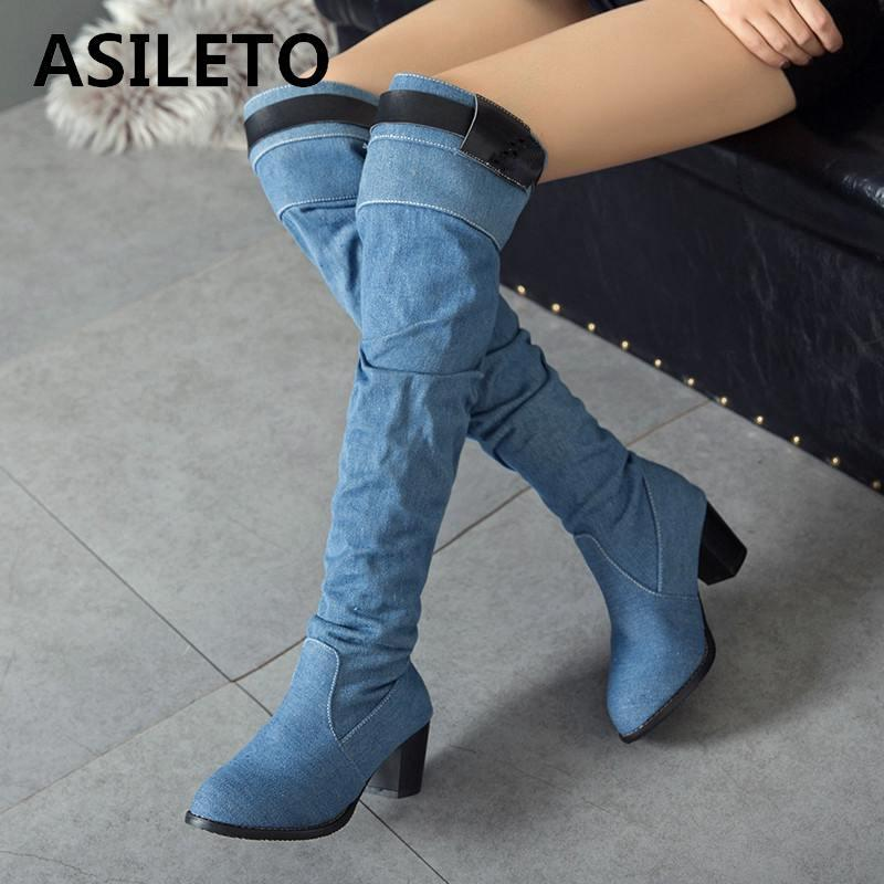 a2d3fcfff8be ASILETO 2018 Spring Autumn New Denim Boots Women Knee High Boots Shoes Woman  Western Cowboy Jean Booties Botte S767 High Heels Heels From Lalulala