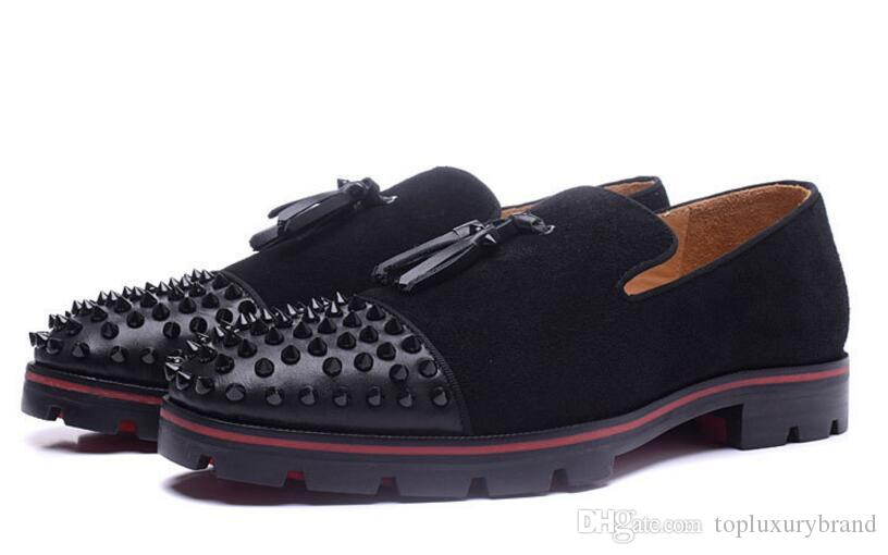 Super Quality Mens Flat Wedding Casual Shoes Red Bottom Rossini Flat  Geunine Leather Red Soles Sneakers Men Spikes Black Suede 38-46 Men Red  Sole Sneaker ...