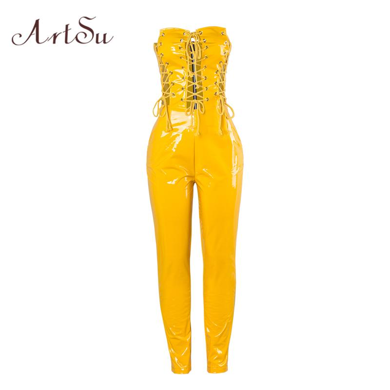 684041fc498 2019 Wholesale Fashion PU Leather Rompers Womens Jumpsuit Lace Up Long  Bodysuit Women Party Strapless Hollow Sexy Club Playsuit ASJU30310 From  Wangzi001