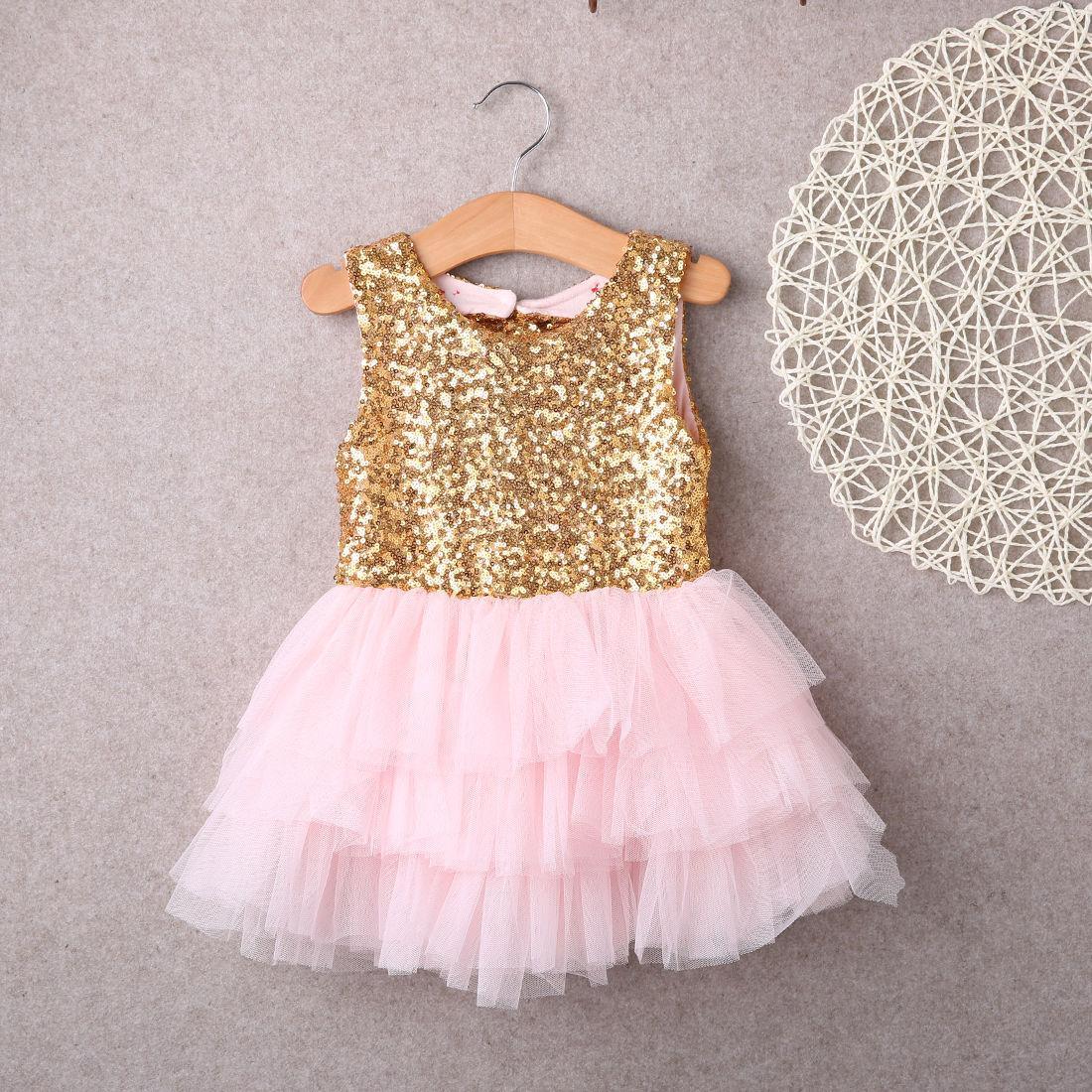 Bowknot Kuchen Kleid Party Mini Ballkleid Kleid Mode Baby Kinder Mädchen Kleider Kleidung Pailletten Backless Bow Gold Spitzenkleid