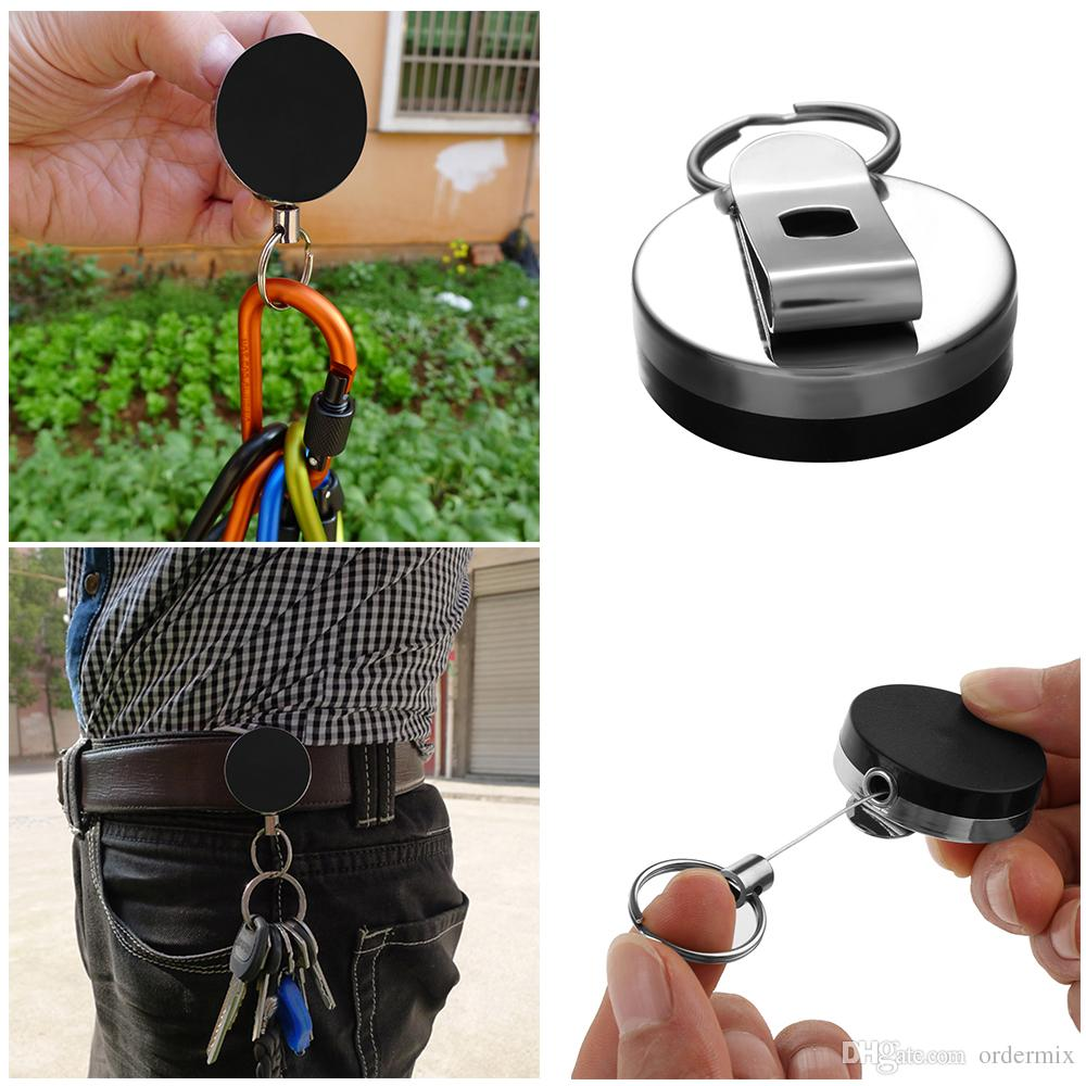 Simple Metal Card Badge Key Holder Stainless Steel Recoil Ring Belt Clip Pull Retractable Key Chain Car Keychain