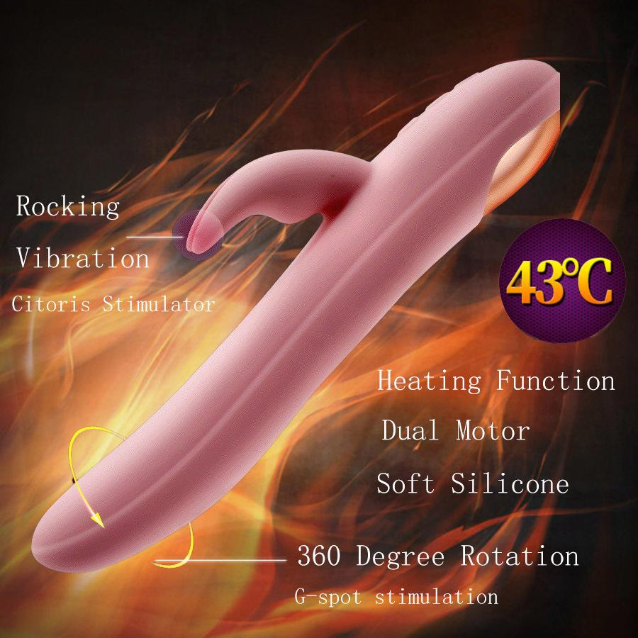 Silicone Hetaing Dildo Vibratior Vibrating   Rotating Rabbit Vibrator G  Spot Clitoris Stimulator Erotic Adult Sex Toys For Woman D18110505 Vibrators  Women ...