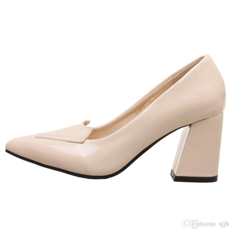 SJJH 2018 Woman Patent Pumps with Pointed Toe and Chunky Heel Elegant Working Shoes for Fashion Women with Large Size Available A197