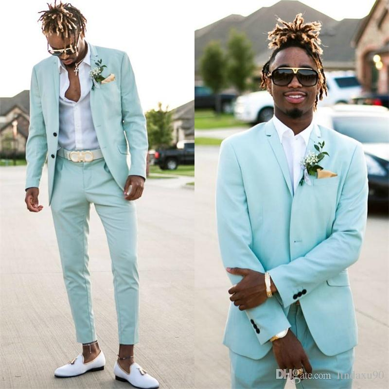 e71665daaf4b 2018 Mint Green Mens Suits Slim Fit Two Pieces Beach Groomsmen Wedding  Tuxedos For Men Peaked Lapel Formal Prom Suit Jacket+Pants Burgundy Dinner  Jacket ...