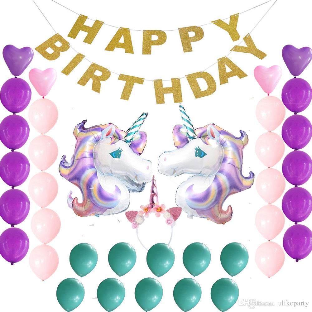 Theme Party Supplies Birthday Decorations SetHappy Banner Unicorn Balloons For Baby Shower