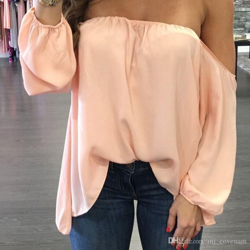 120218e8de5 2019 New Fashion Womens Blouse Off Shoulder Long Sleeve Chiffon Blouses  Ladies Clothing Loose Casual Blouses For Sexy Womens Clothing From  Mj_covenant, ...