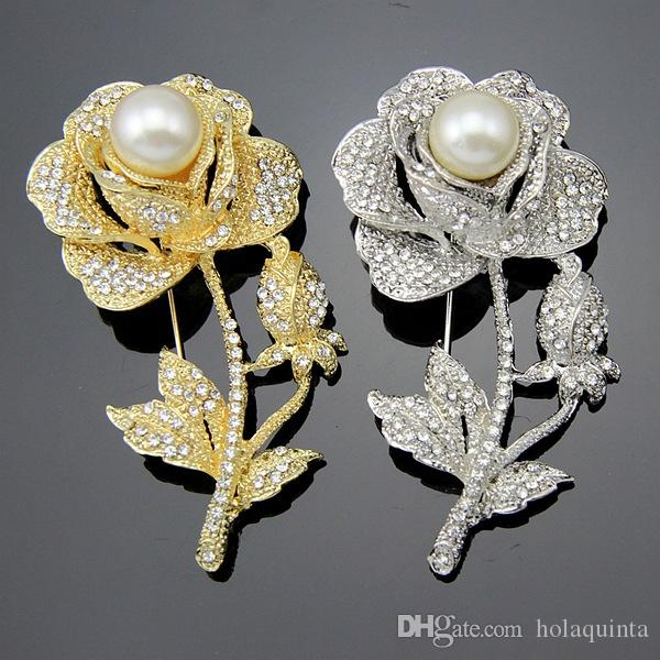 Silver/Gold Clear Rhinestone Imitation Pearl Rose Flower Brooch Wedding Favors Accessories