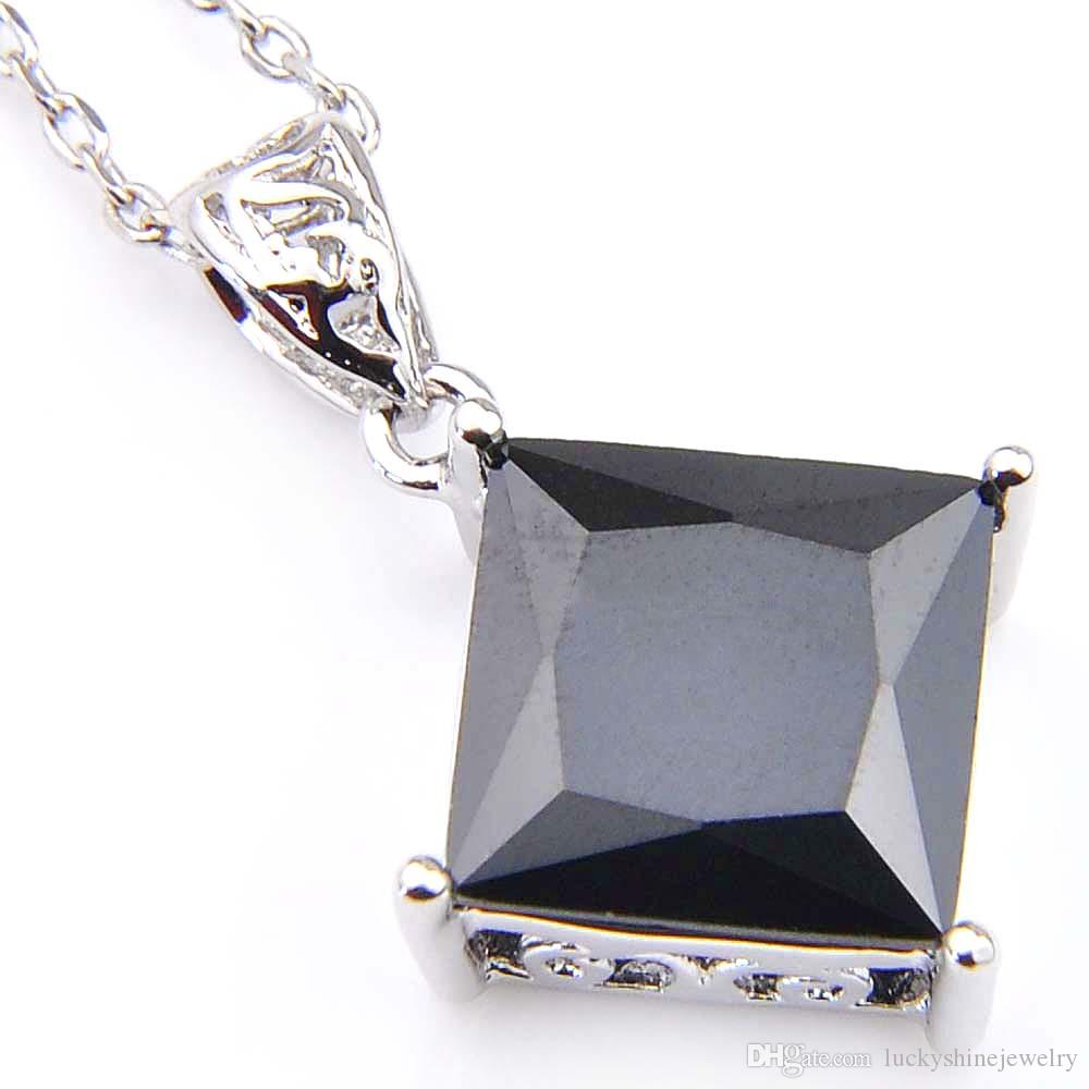 Luckyshinewiss Black Onyx Cubic Zirconia Gemstone Silver Pendants Necklaces for Holiday Wedding Party