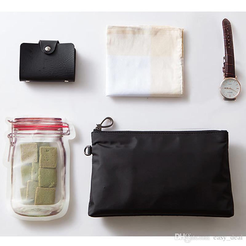 / Atacado Mason Jar Shaped Food Container Plastic Bag Limpar Mason Garrafa Modeling Zippers armazenamento Snacks Plastic Box LZ0706