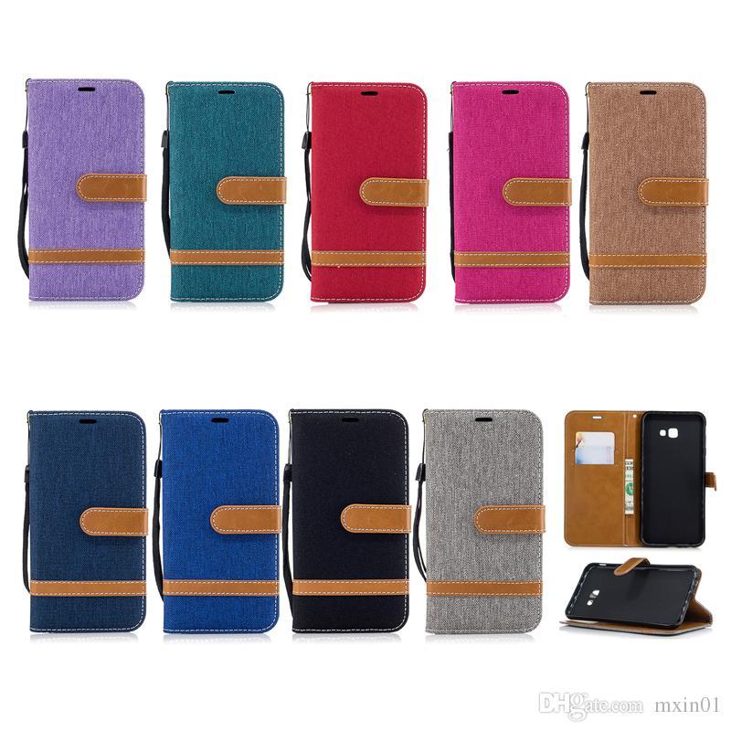 Retro Denim Jeans Canvas Hybrid Wallet Leather Case Card Slots For Samsung J5 A3 A5 2016 J3 Prime J7 2017 J4 J6 Plus J2 Pro A6 A7 A8 2018