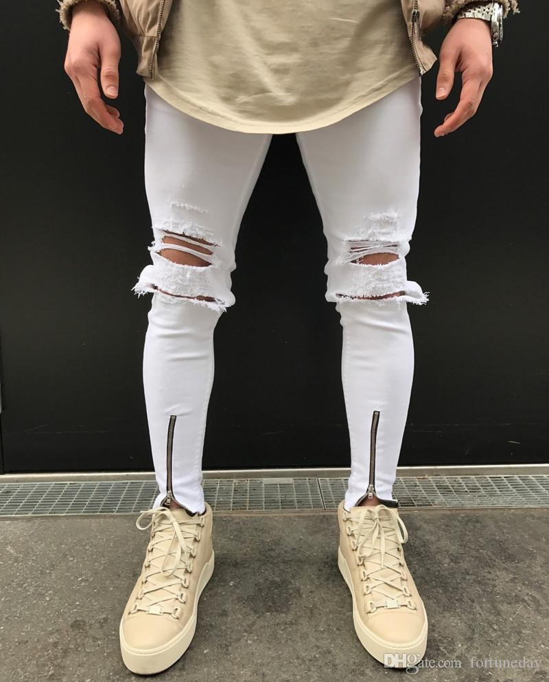 127e5795ae2c Street Fashion Hip Hop Men Knee Hole Stretch Denim Pants Ripped ...
