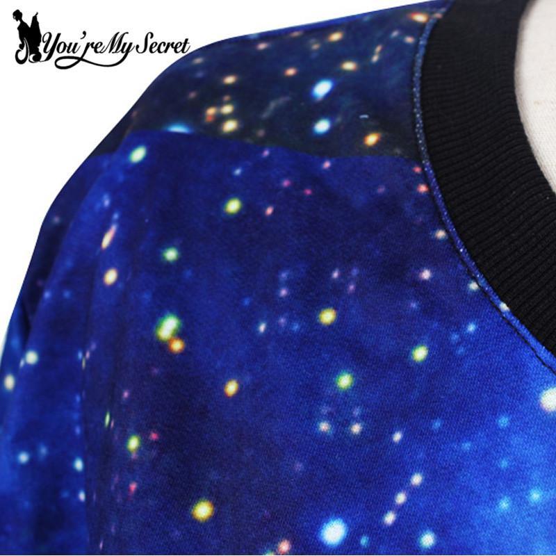 [Você é Meu Segredo] Mulheres Hoodies Cosmic Azul Camisolas Galaxy Espaço 3D Impresso Moleton Manga Comprida Solta Casual Pullovers