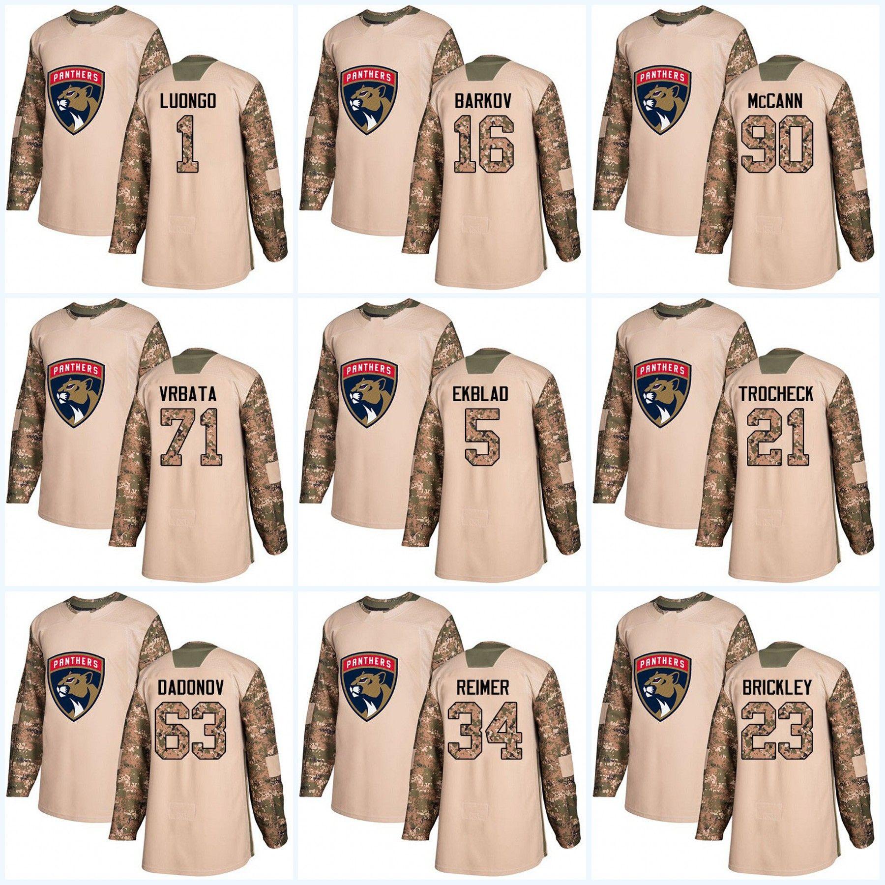 new style 480c5 f3c55 Youth 2017 Camo Veterans Day Florida Panthers 1 Roberto Luongo Aaron Ekblad  Aleksander Barkov Micheal Haley Radim Vrbata Hockey jerseys