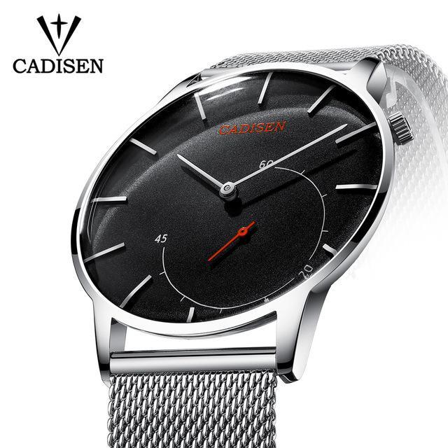 e9d695137ed Compre CADISEN Mens Relógios Top Marca De Luxo Relógio De Vidro Curvo Homens  De Negócios Casuais Criativo Mesh Strap Relógio De Quartzo Relogio Masculino  De ...