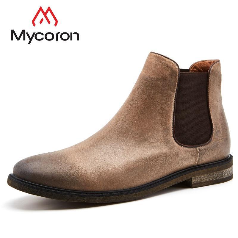 299e379e7 MYCORON New Popular Boots Minimalist Design Genuine Leather Men Autumn  Winter Boot Ankle Boots Fashion Man Shoes