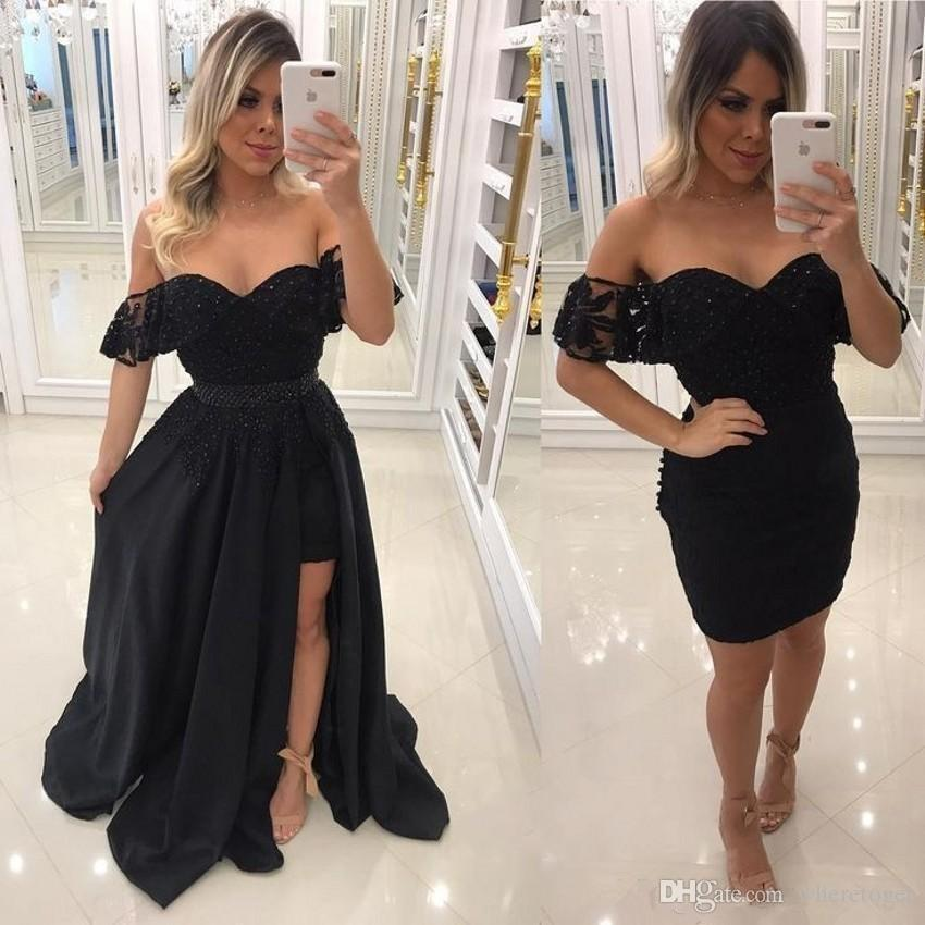 868f10f658 2018 Charming Black Evening Dresses With Detachable Train Two Pieces Little Black  Prom Dresses Bling Beaded Off Shoulder Lace Formal Gowns Canada 2019 From  ...
