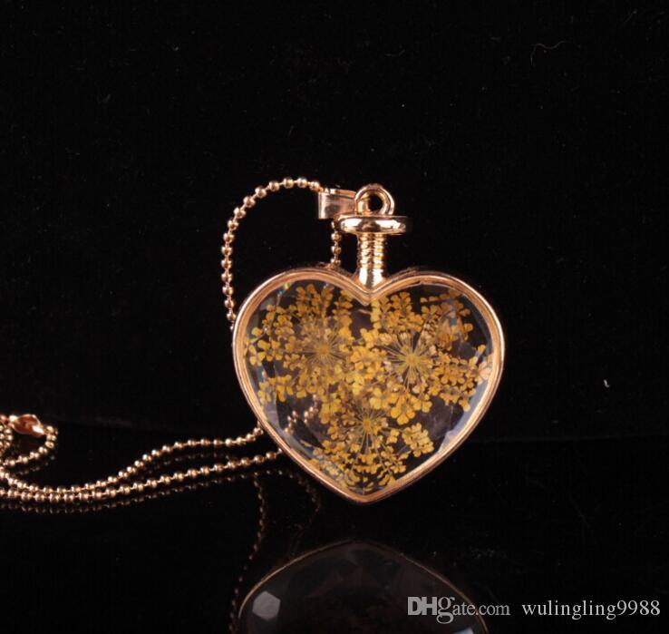 Форма сердца Murano Lampswork стекло подвески ароматерапия кулон ожерелья ювелирные изделия сухие цветы духи флакон бутылки ожерелье 30 шт.
