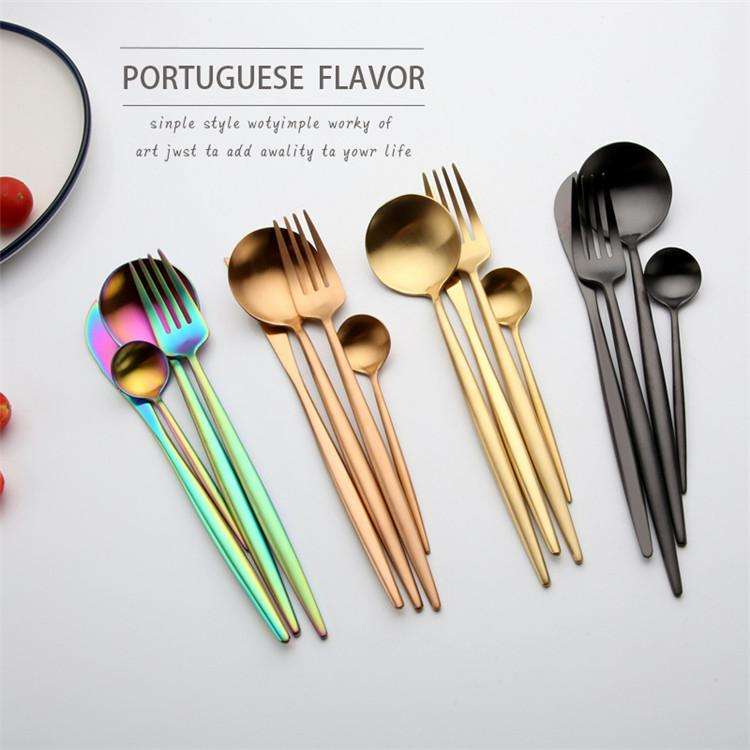 Edelstahl Gold Besteck Sets Loffel Gabel Messer Tee Loffel Geschirr Set Kuche Bar Utensil 4 Stil Sets 50 Satz T1i858