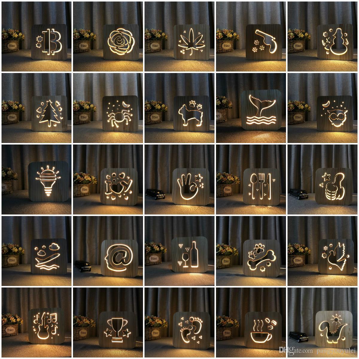 Leão 3D LED Nightlight Lâmpada de madeira Nightlight USB Power Início Quarto Table Desk Lamp Decoração Madeira 3D Carving Pattern LED NightLight
