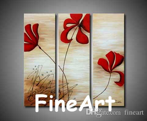 handmade 3 piece painting flower abstract art canvas contemporary art oil  painting discount wall painting ideas home