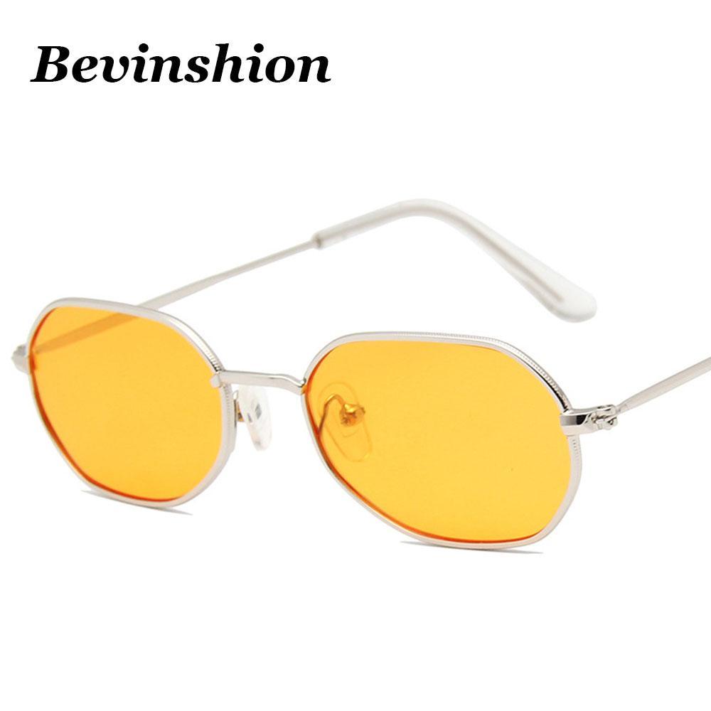 4a0f2727b8f3 Cool Sexy Cute Small Square Sunglasses Women Men Metal Vintage Sun Glasses  Polygon Irregular Brand Cheap Glasses Yellow Red Lens Bifocal Sunglasses  Retro ...