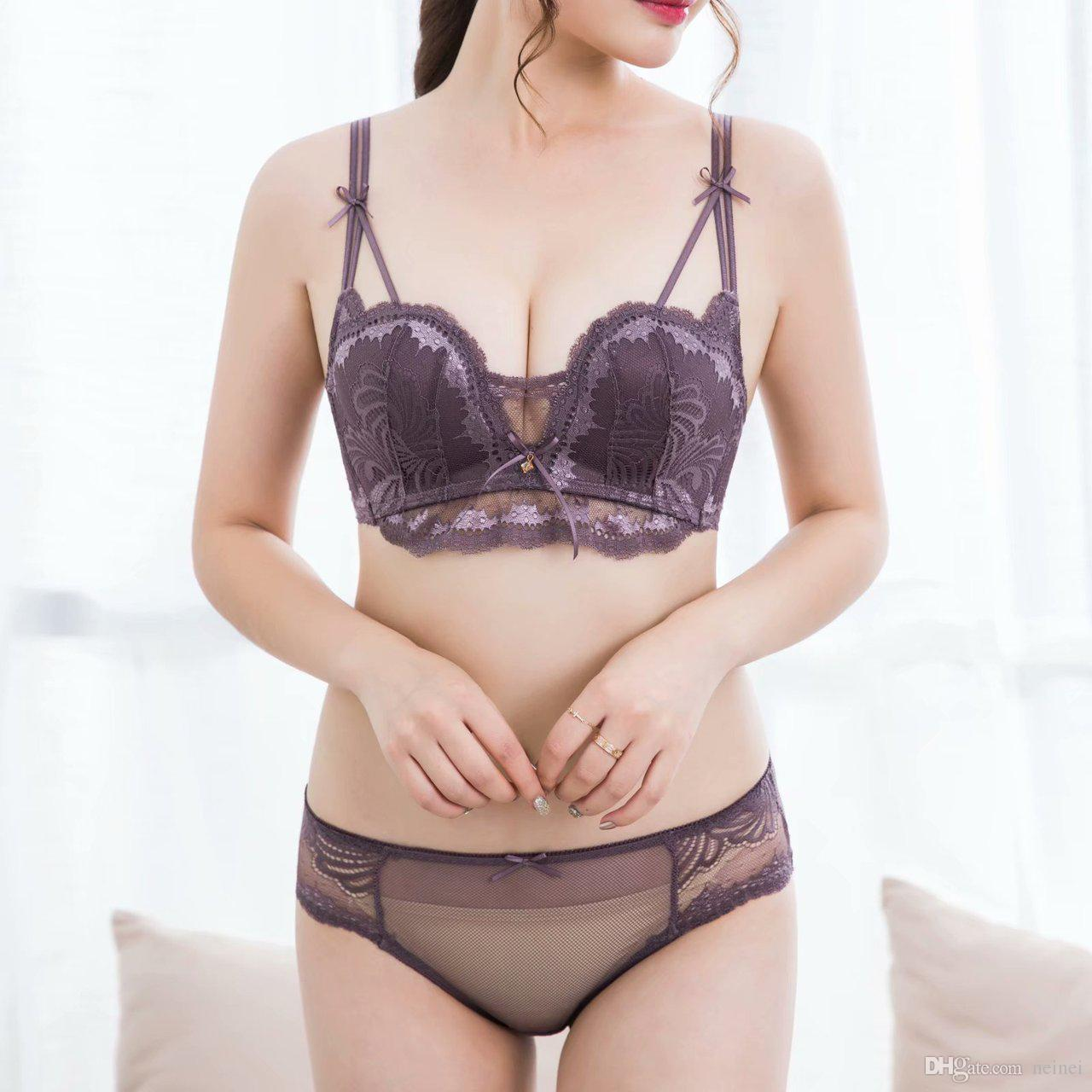 2e752091a5 2019 Deep V Neck W Cup Women Sexy Bra And Panty Set Floral Lace Young Girls  Push Up Gather Small Underwear Sets Bralette Set Lingerie From Neinei
