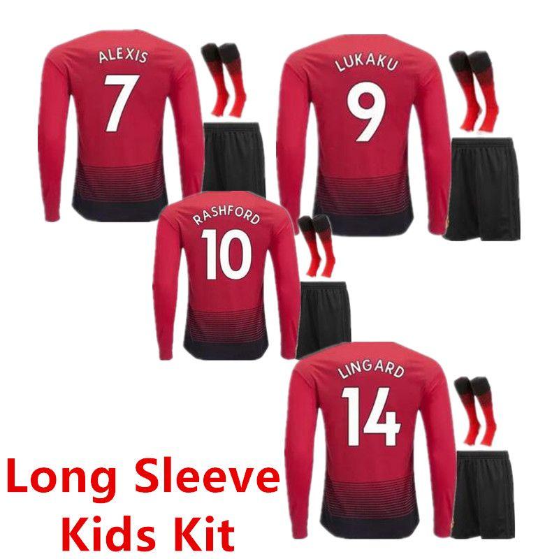 18 19 POGBA Man Soccer Jerseys Kids Kit Long Sleeve 2019 Football ... 541b9facd