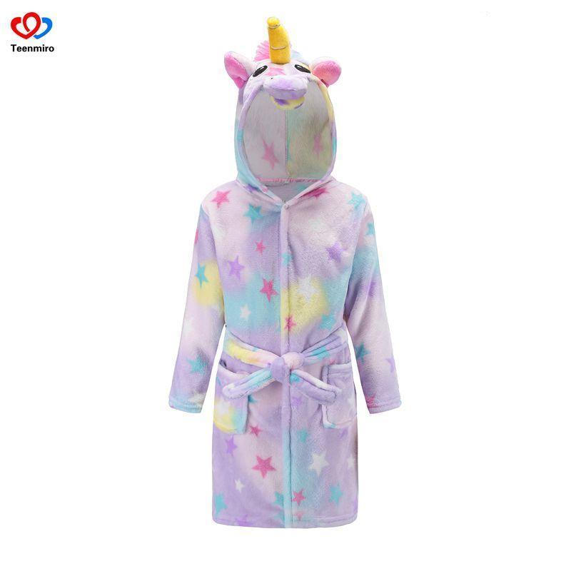 Hot Sale Beach Robe Girls Unicorn Bath Robes Boys Sleepwear Baby Girl  Pajamas Children Fleece Bathrobes Hooded Towel Rainbow Y18102908 Boy  Christmas Pajamas ... eb9e693d8
