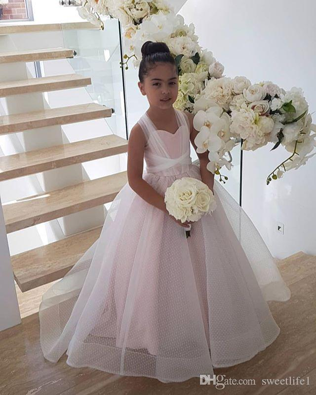 2019 Pale Pink Spaghetti Flower Girls Abiti Punto Tulle A Line Puffy Princess Style Lace Up Prima Comunione Abiti Ragazze Pageant Gown