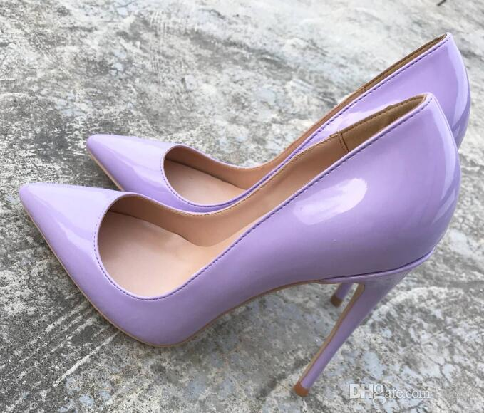 Home> Shoes & Accessories> Dress Shoes> Product detail 2018 shallow mouth matte purple shoes ladies 8cm 12cm 10cm red bottom high heels we