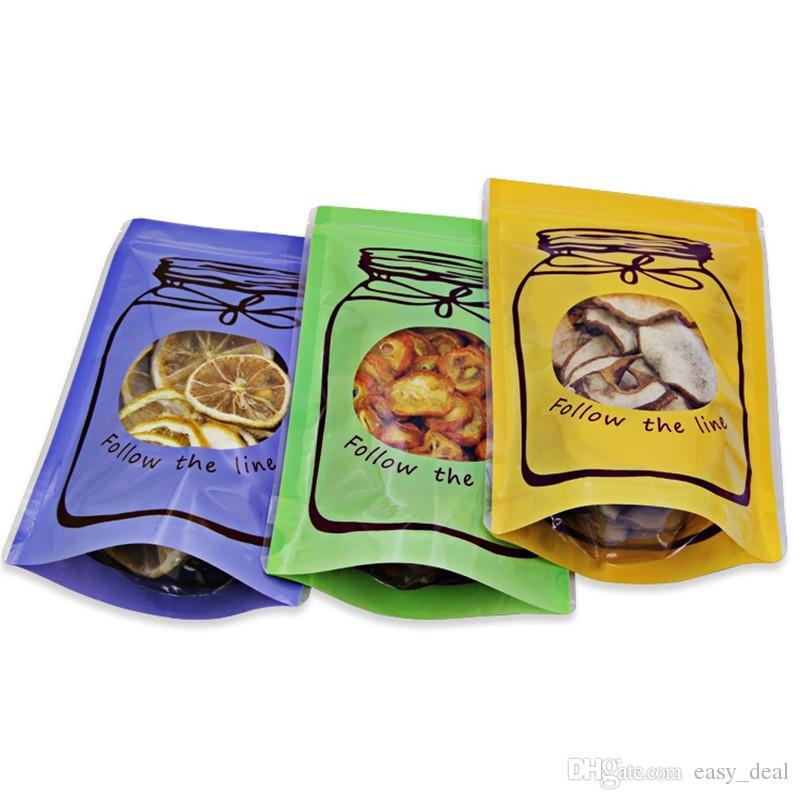Mason Jar Shaped Food Container Plastic Bag Clear Bottle Zippers Lock Storage Snacks Plastic Bag for Flower Tea Snacks Coffee LZ1862