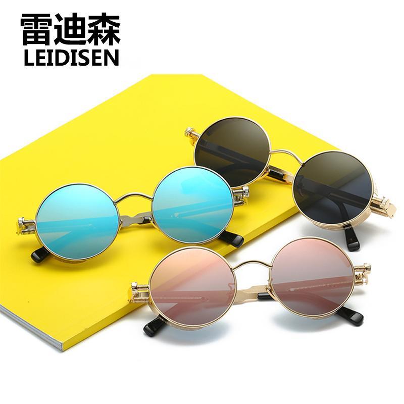 a0d09649037 LEIDISEN 2017 New Men Women Round Metal Sunglasses Mirror Brand Designer  Vintage Fashion Oculos Steampunk Sol UV400 Sun Glasses Sun Glasses Eyewear  From ...
