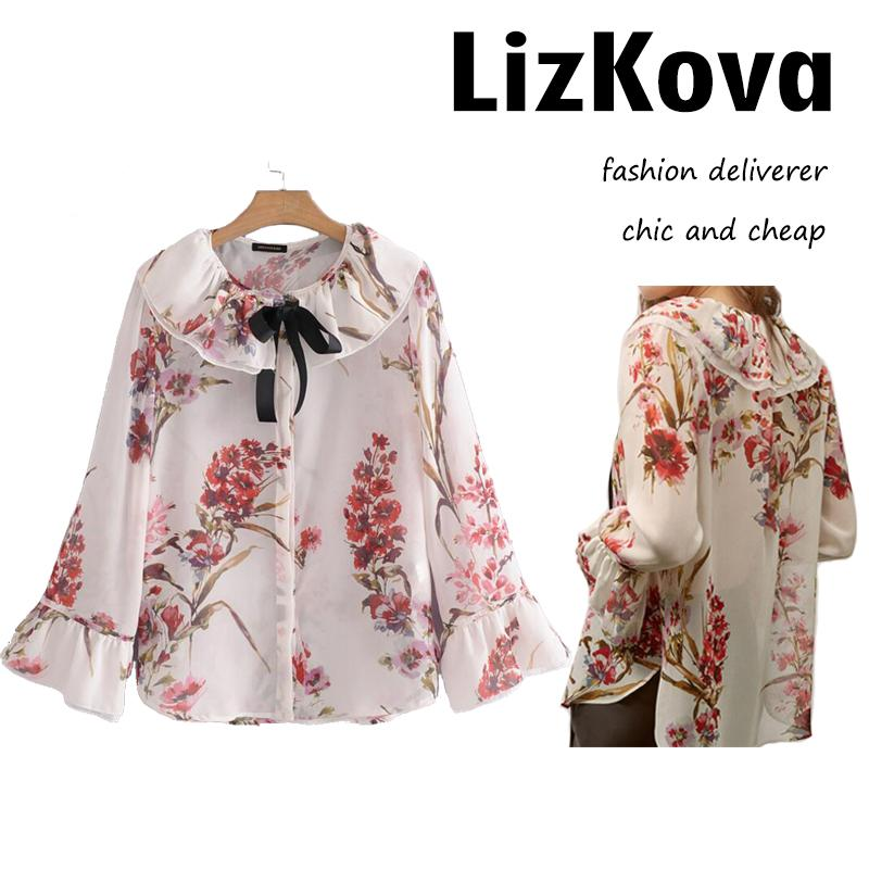 8f51f4746156 2019 Women Floral Print Chiffon Blouses Peter Pan Collar Bow Tie Lolite Blouse  Cute Girls Flare Sleeve Tops Spring Summer Clothing From Octavi