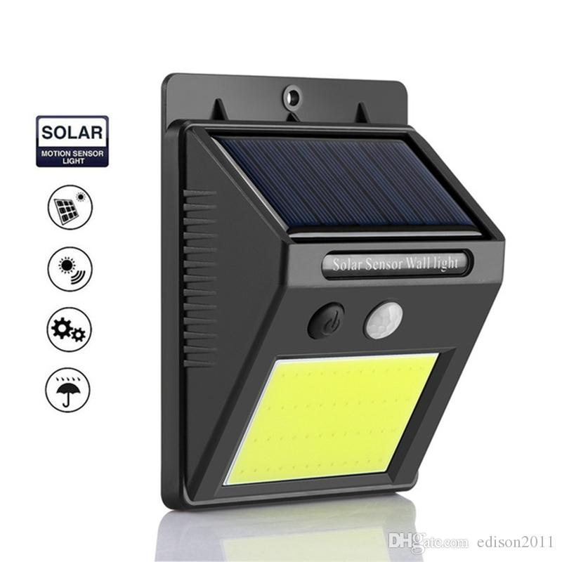 Edison2011 48 COB LED Solar Powered PIR Sensor de movimiento lámpara de pared Cuerpo humano Luz infrarroja exterior impermeable para el hogar luces de seguridad