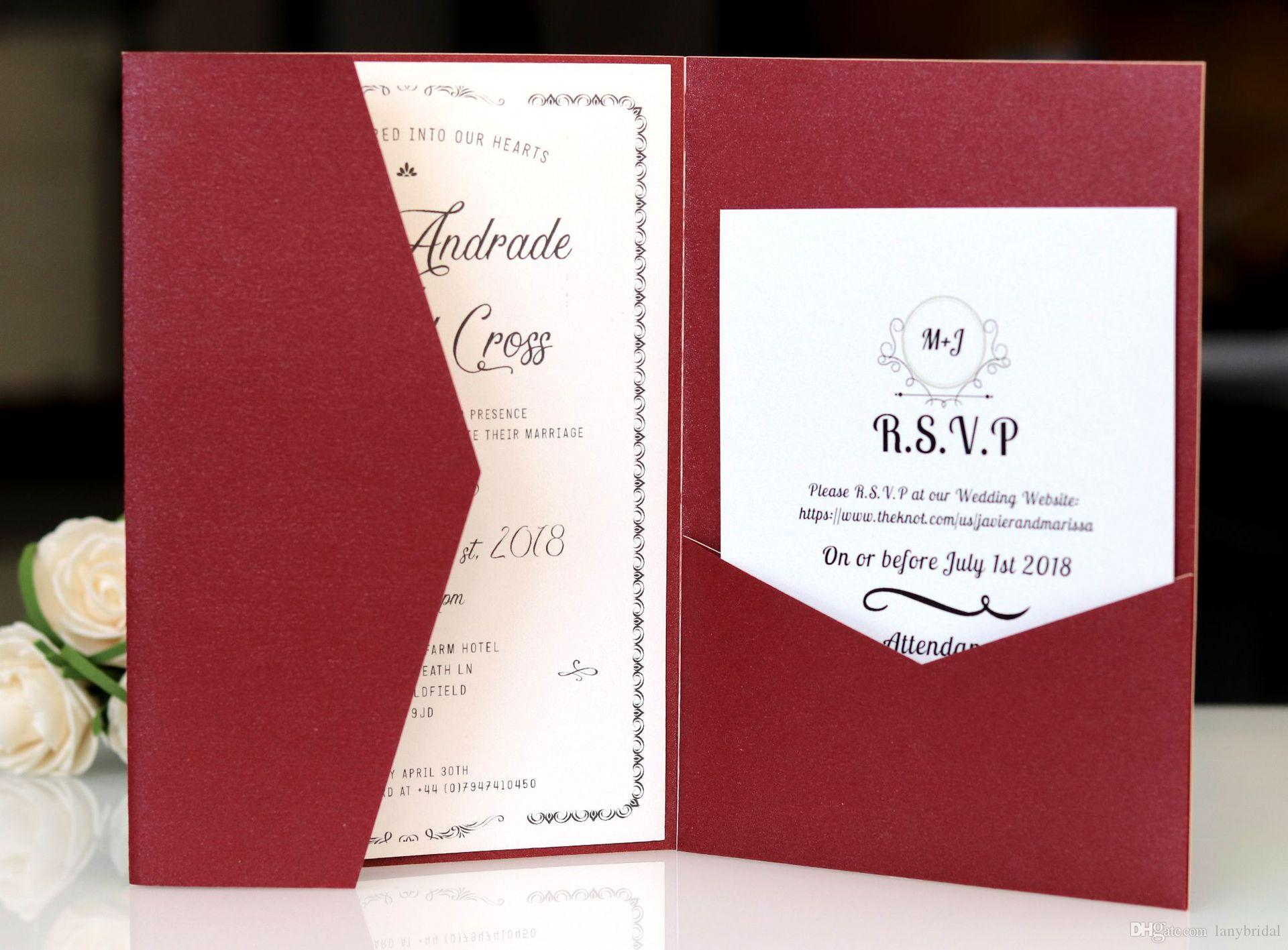 Dark Red Laser Cut Invitations Cards With Rsvp Cards White Pearl
