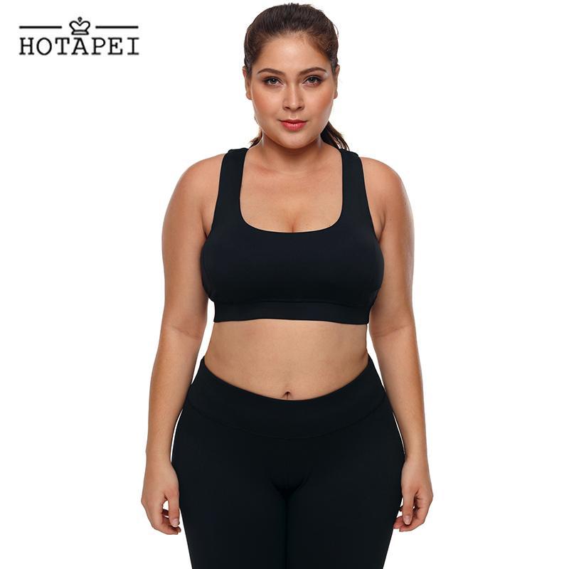 e97e2a5135a 2019 HOTAPEI Women Fitness Yoga Sports Bra Black Plus Size U Shaped Neck Sport  Bra LC26040 Push Up Seamless Tank Top Sportswear L 3XL From Jinzoug