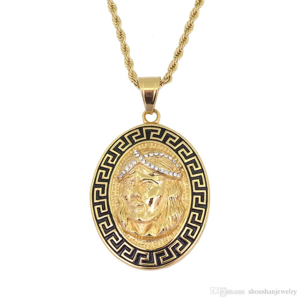 Collana con ciondolo Jesus hip-hop gioiello in acciaio con catena a corda da 24 pollici SN118 da 24 mm