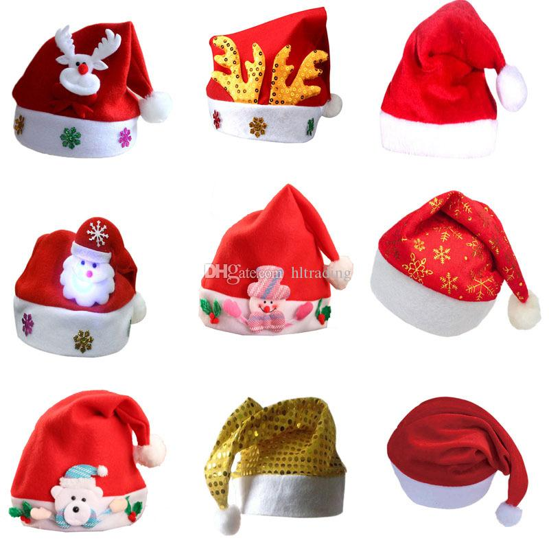 Christmas Cosplay Hats Sequin deer snowman Santa Claus hat 2018 fashion adults children Xmas cap Christmas Party Supplies 27 styles C5272